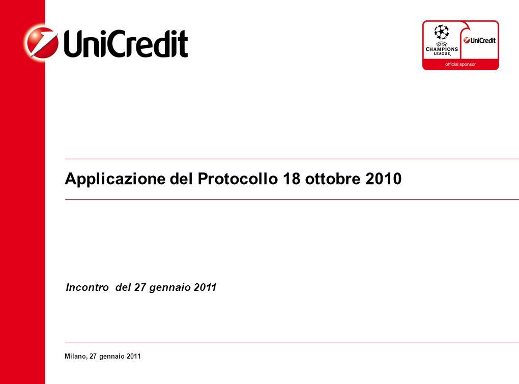 Applicazione del Protocollo 18 ottobre 2010 Milano, 27 gennaio 2011 Incontro del 27 gennaio 2011