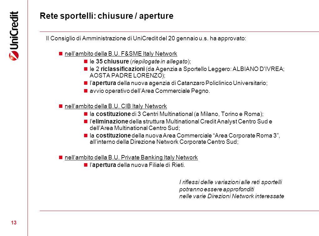 13 Rete sportelli: chiusure / aperture Il Consiglio di Amministrazione di UniCredit del 20 gennaio u.s. ha approvato: nellambito della B.U. F&SME Ital