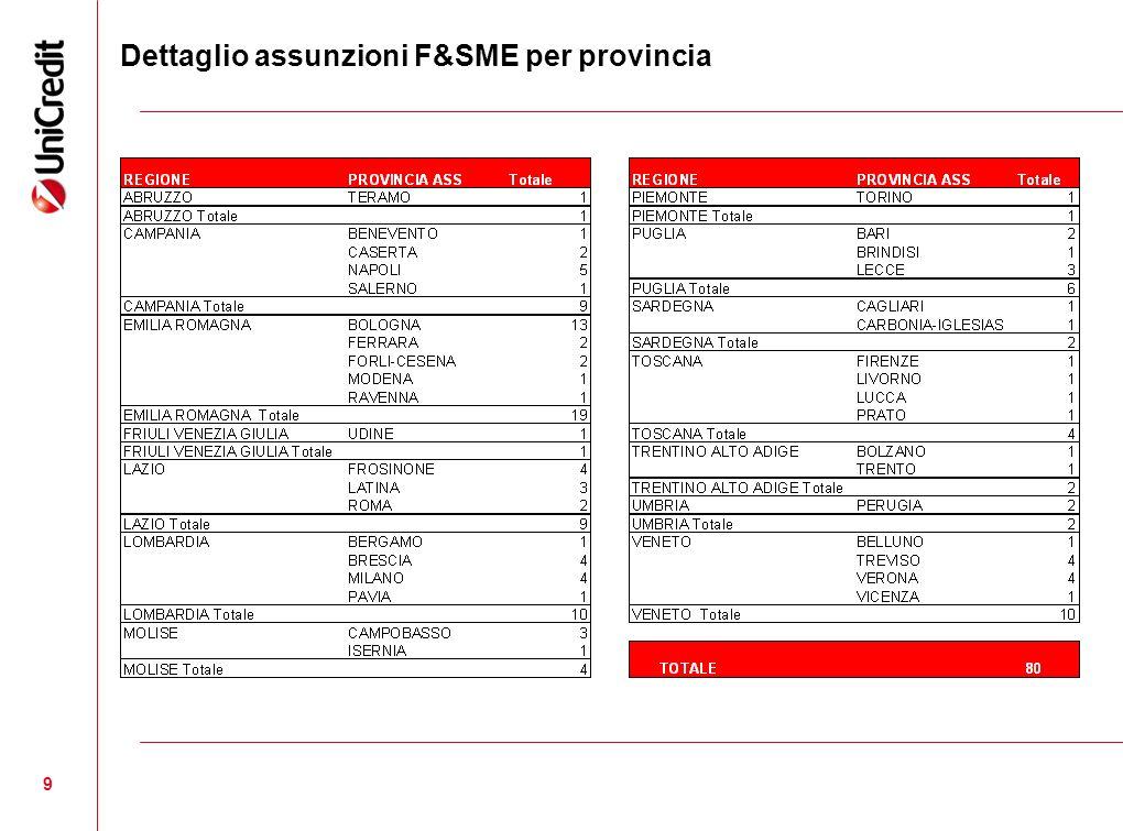 9 Dettaglio assunzioni F&SME per provincia