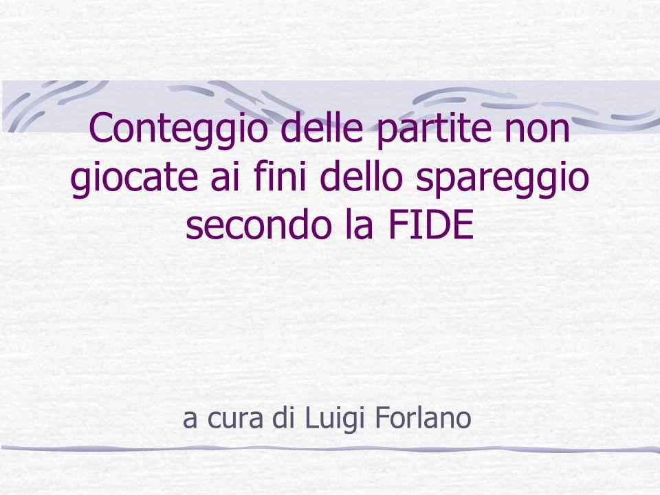 Conteggio delle partite non giocate ai fini dello spareggio secondo la FIDE a cura di Luigi Forlano