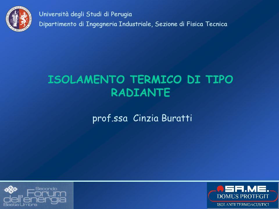 ISOLAMENTO TERMICO DI TIPO RADIANTE Università degli Studi di Perugia Dipartimento di Ingegneria Industriale, Sezione di Fisica Tecnica prof.ssa Cinzi