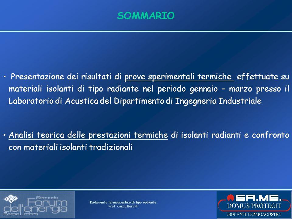 Isolamento termoacustico di tipo radiante Prof. Cinzia Buratti SOMMARIO Presentazione dei risultati di prove sperimentali termiche effettuate su mater