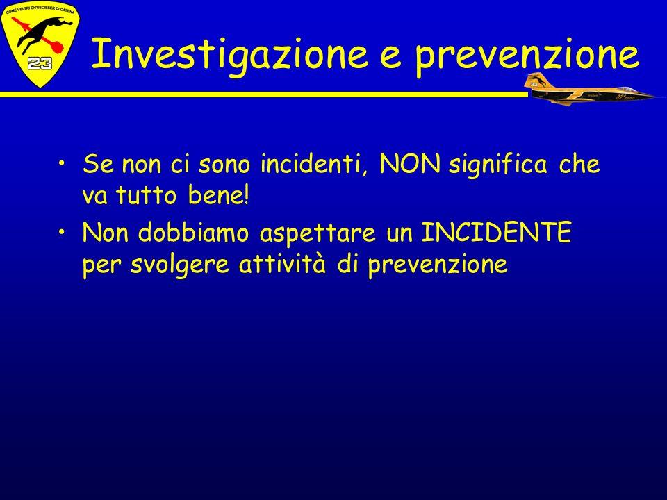 Se non ci sono incidenti, NON significa che va tutto bene! Non dobbiamo aspettare un INCIDENTE per svolgere attività di prevenzione Investigazione e p