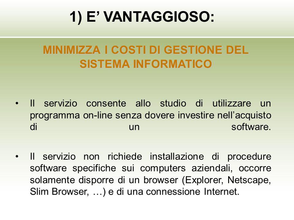 Il servizio consente allo studio di utilizzare un programma on-line senza dovere investire nellacquisto di un software. Il servizio non richiede insta