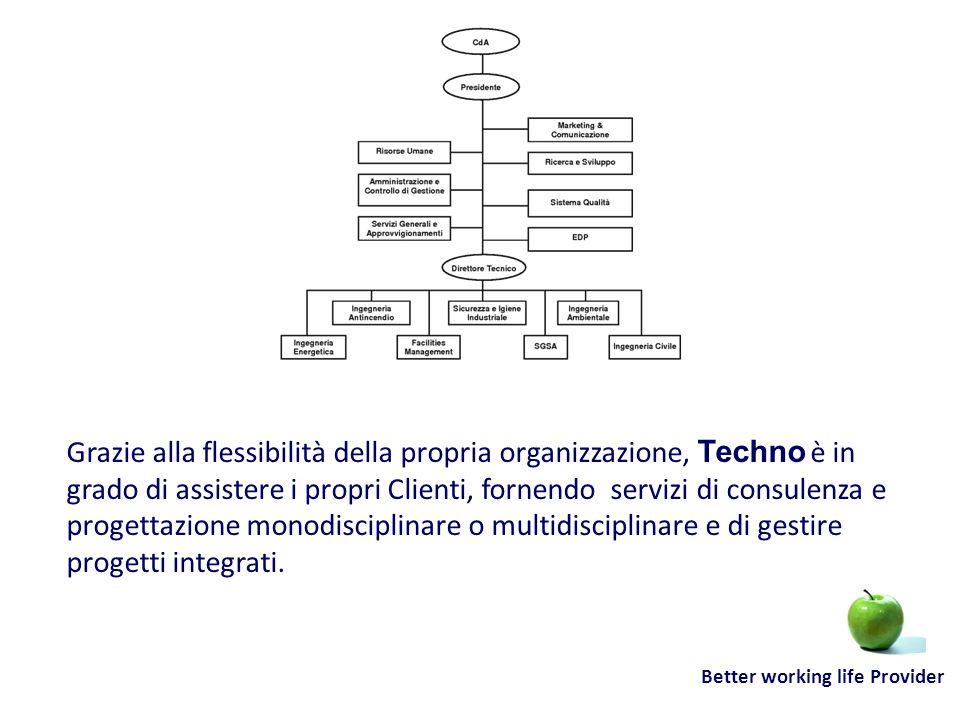 Better working life Provider Grazie alla flessibilità della propria organizzazione, Techno è in grado di assistere i propri Clienti, fornendo servizi
