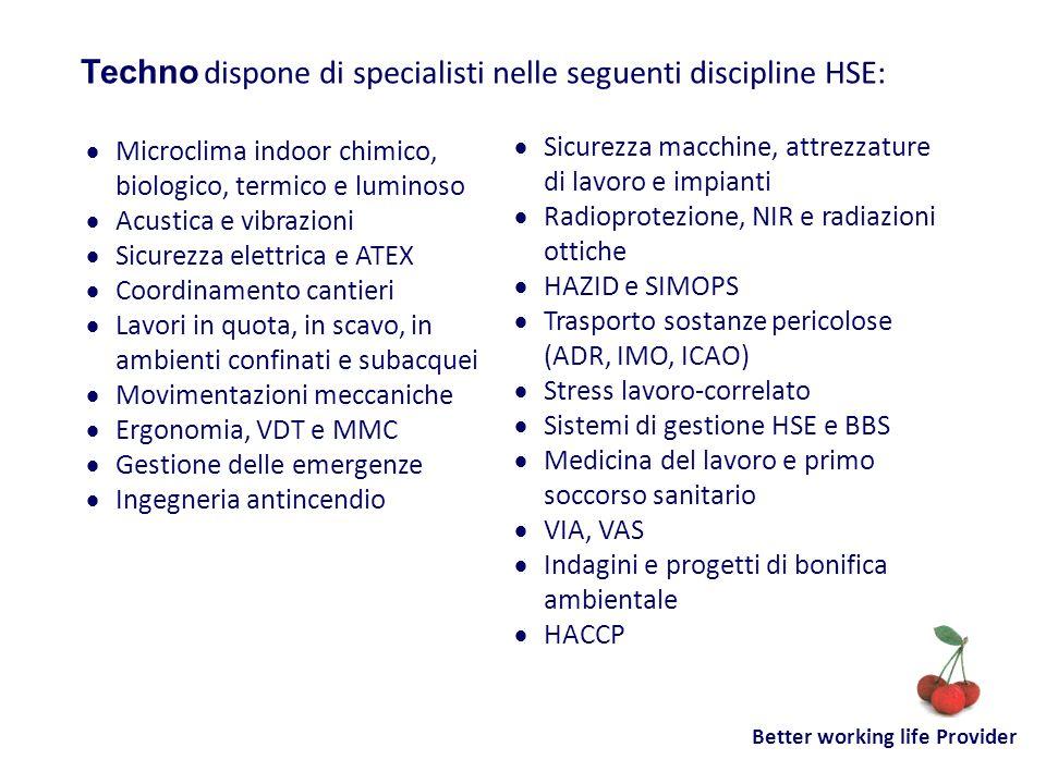 Better working life Provider Techno dispone di specialisti nelle seguenti discipline HSE: Microclima indoor chimico, biologico, termico e luminoso Acu