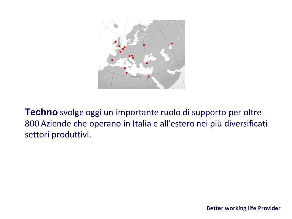 Better working life Provider Techno svolge oggi un importante ruolo di supporto per oltre 800 Aziende che operano in Italia e allestero nei più divers