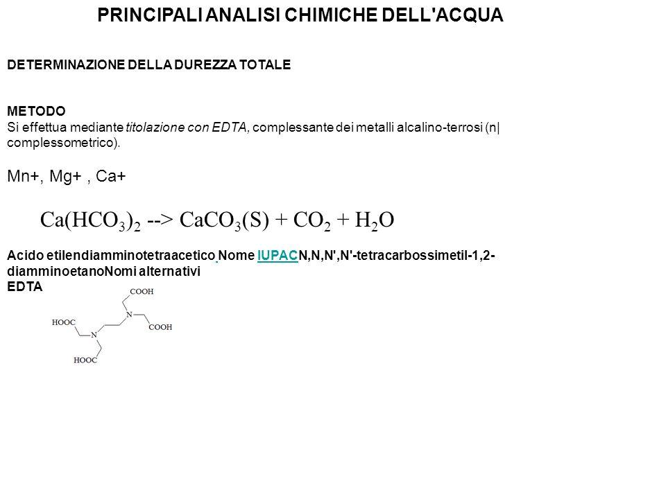 EDTA (acido etilendiamminotetracetico) Indicatore è il nero-eriocromoT che forma con gli ioni Mg 2+ un complesso di colore rossi L EDTA, sgocciolato dalla buretta, dopo aver legato gli ioni Ca2+ e Mg2+ in soluzione, i magnesio all indicatore che, una volta libero, assume colore blu.