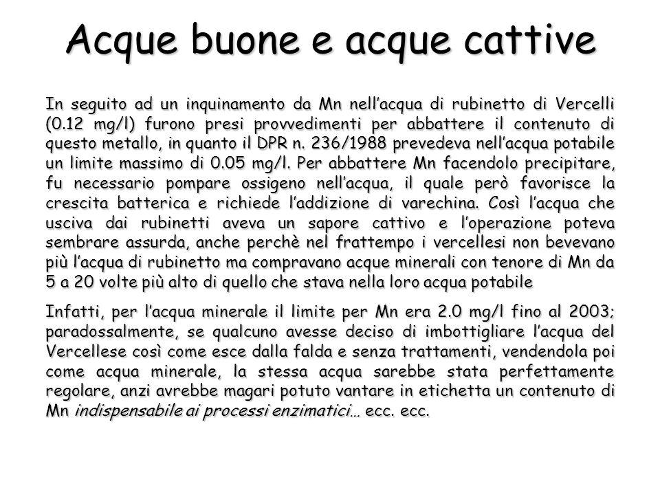 In seguito ad un inquinamento da Mn nellacqua di rubinetto di Vercelli (0.12 mg/l) furono presi provvedimenti per abbattere il contenuto di questo met