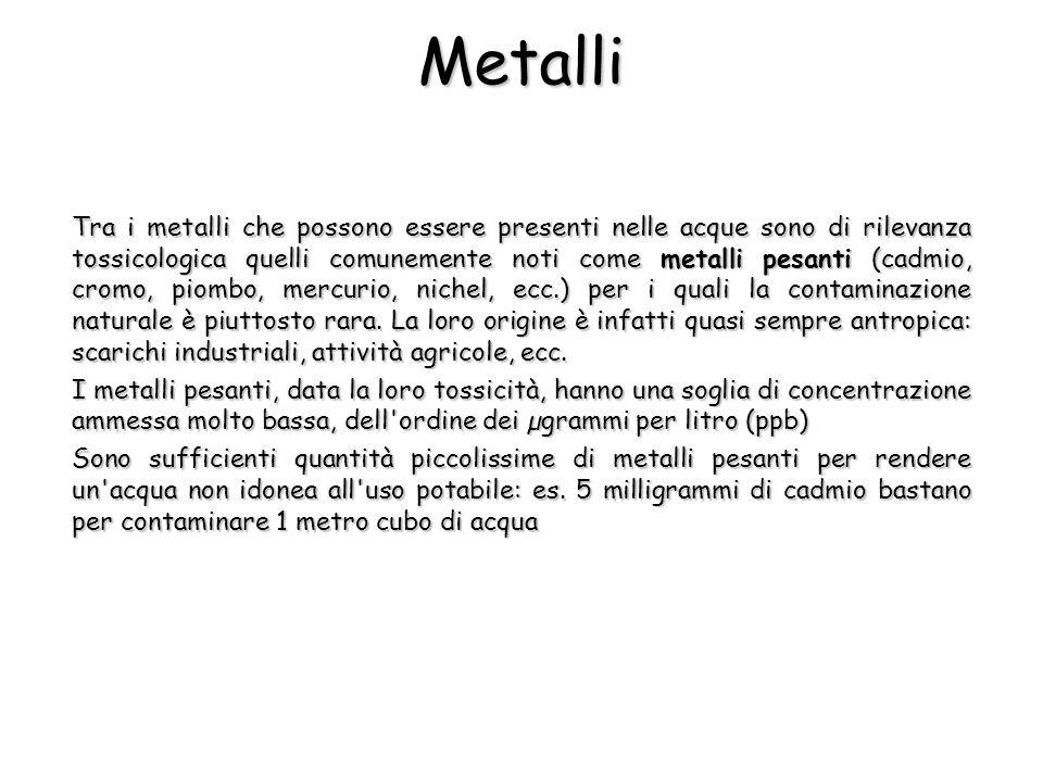 Metalli Tra i metalli che possono essere presenti nelle acque sono di rilevanza tossicologica quelli comunemente noti come metalli pesanti (cadmio, cr