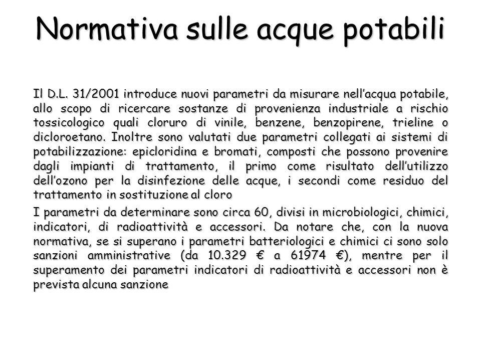 Il D.L. 31/2001 introduce nuovi parametri da misurare nellacqua potabile, allo scopo di ricercare sostanze di provenienza industriale a rischio tossic