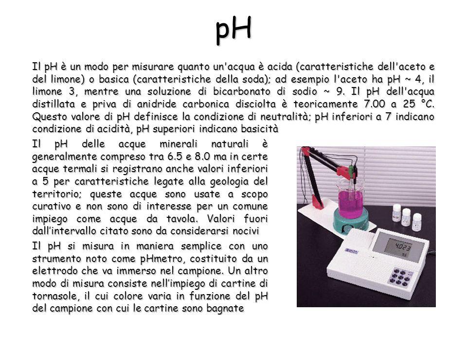 Il pH è un modo per misurare quanto un'acqua è acida (caratteristiche dell'aceto e del limone) o basica (caratteristiche della soda); ad esempio l'ace