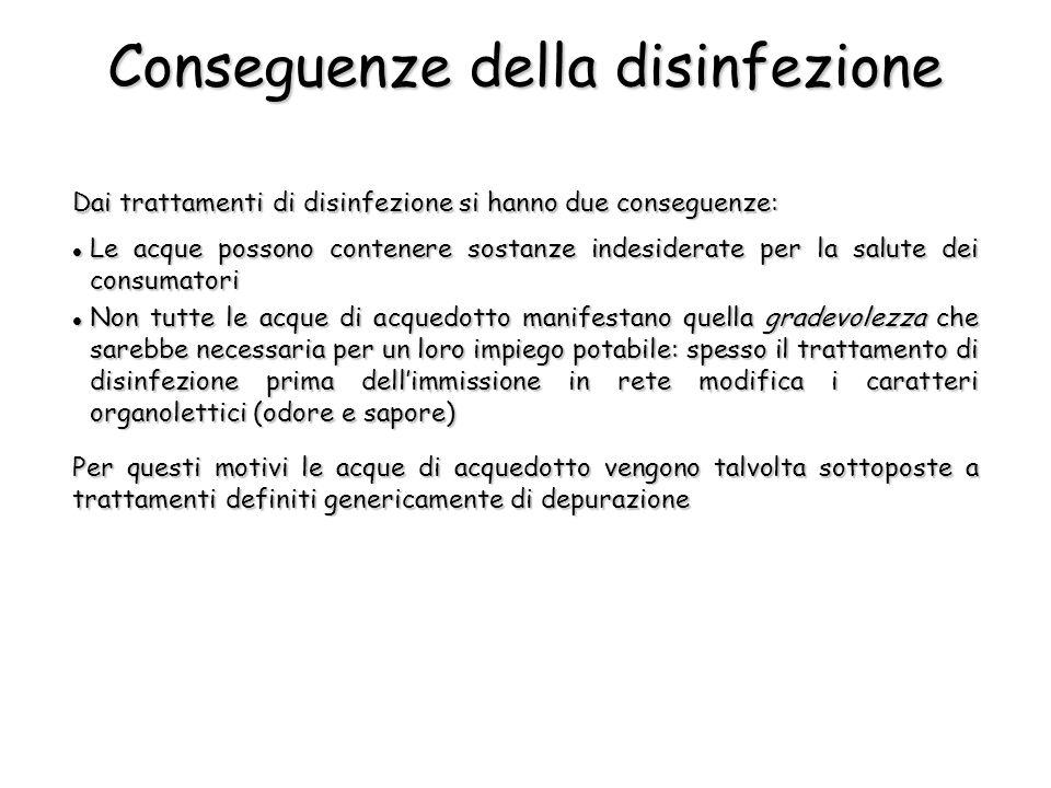 Dai trattamenti di disinfezione si hanno due conseguenze: Per questi motivi le acque di acquedotto vengono talvolta sottoposte a trattamenti definiti