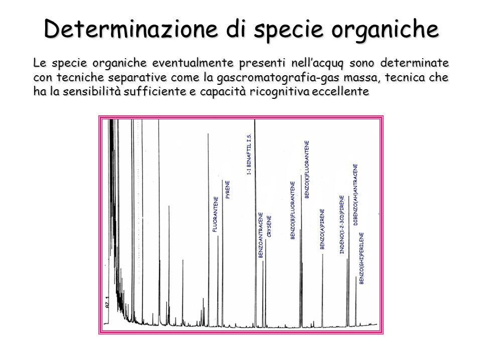 Determinazione di specie organiche Le specie organiche eventualmente presenti nellacquq sono determinate con tecniche separative come la gascromatogra