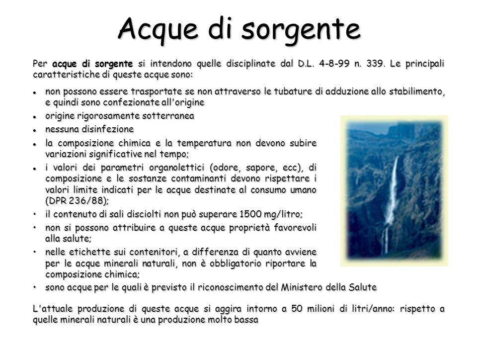 Per acque di sorgente si intendono quelle disciplinate dal D.L. 4-8-99 n. 339. Le principali caratteristiche di queste acque sono: L'attuale produzion