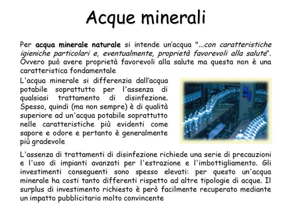 I componenti principali delle acque minerali sono gli ioni Na +, K +, Ca 2+, Mg 2+, Cl -, SO 4 2- e HCO 3 -.