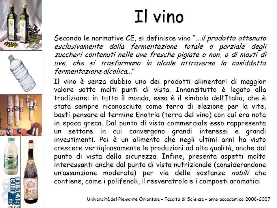 Università del Piemonte Orientale – Facoltà di Scienze – anno accademico 2006-2007 Il vino Secondo le normative CE, si definisce vino...il prodotto ot