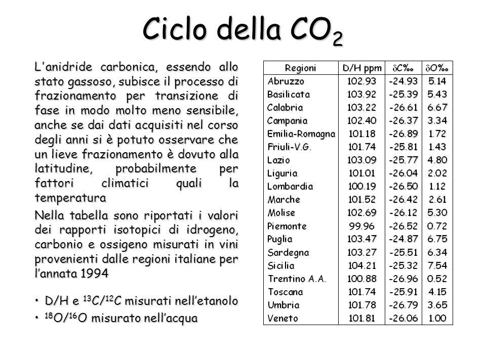 Ciclo della CO 2 L'anidride carbonica, essendo allo stato gassoso, subisce il processo di frazionamento per transizione di fase in modo molto meno sen