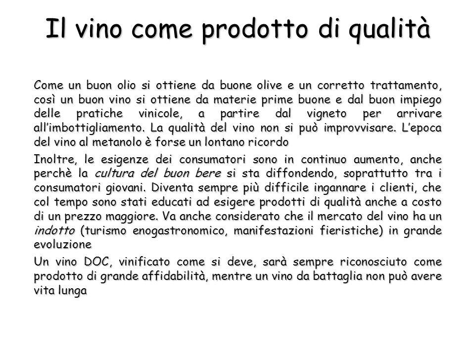 Alcune applicazioni analitiche Le analisi sono importanti in più punti della filiera del vino, dal prelievo delle uve alla commercializzazione del prodotto imbottigliato: Controllo di qualità: valutare il grado di maturazione delle uve, leffetto dei vari passaggi del processo, il grado di invecchiamentoControllo di qualità: valutare il grado di maturazione delle uve, leffetto dei vari passaggi del processo, il grado di invecchiamento Riduzione dei processi degradativi: identificare le sostanze che apportano contributi negativi al vino e capirne lorigineRiduzione dei processi degradativi: identificare le sostanze che apportano contributi negativi al vino e capirne lorigine Miscelazione: stabilire, attraverso la misurazione di parametri ben precisi, quali siano i rapporti ottimali di miscelazione per ottenere un prodotto con le caratteristiche desiderateMiscelazione: stabilire, attraverso la misurazione di parametri ben precisi, quali siano i rapporti ottimali di miscelazione per ottenere un prodotto con le caratteristiche desiderate Certificazione per la commercializzazione: poter soddisfare i requisiti richiesti per lottenimento della D.O.C.Certificazione per la commercializzazione: poter soddisfare i requisiti richiesti per lottenimento della D.O.C.