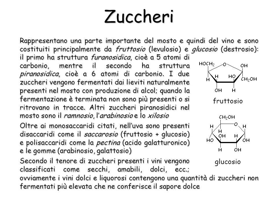 Zuccheri Rappresentano una parte importante del mosto e quindi del vino e sono costituiti principalmente da fruttosio (levulosio) e glucosio (destrosi