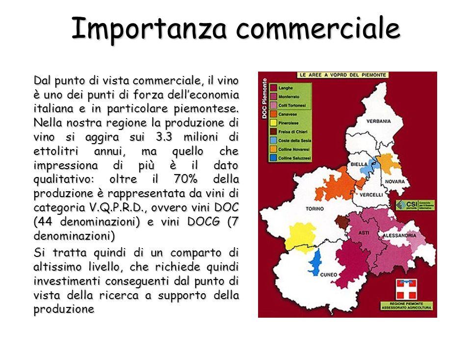 Importanza commerciale Dal punto di vista commerciale, il vino è uno dei punti di forza delleconomia italiana e in particolare piemontese. Nella nostr
