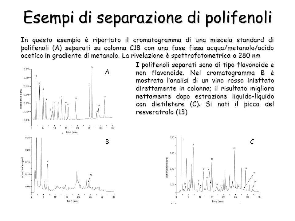 In questo esempio è riportato il cromatogramma di una miscela standard di polifenoli (A) separati su colonna C18 con una fase fissa acqua/metanolo/aci
