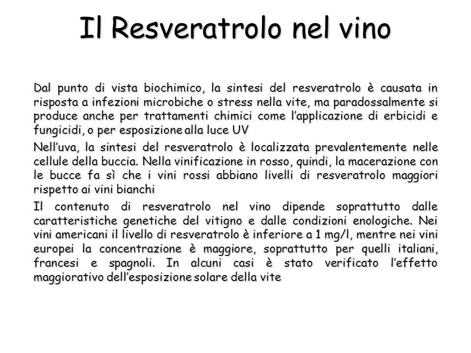 Dal punto di vista biochimico, la sintesi del resveratrolo è causata in risposta a infezioni microbiche o stress nella vite, ma paradossalmente si pro