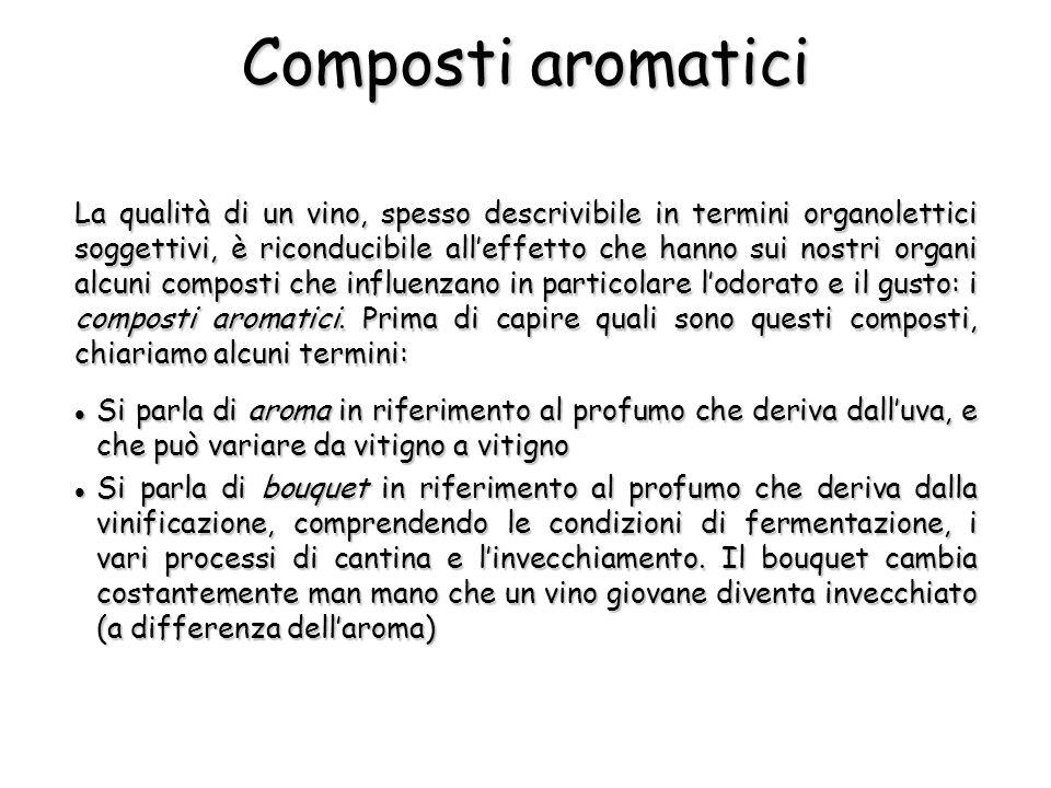 Composti aromatici La qualità di un vino, spesso descrivibile in termini organolettici soggettivi, è riconducibile alleffetto che hanno sui nostri org