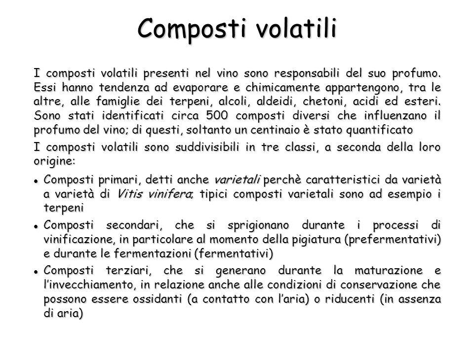 I composti volatili presenti nel vino sono responsabili del suo profumo. Essi hanno tendenza ad evaporare e chimicamente appartengono, tra le altre, a