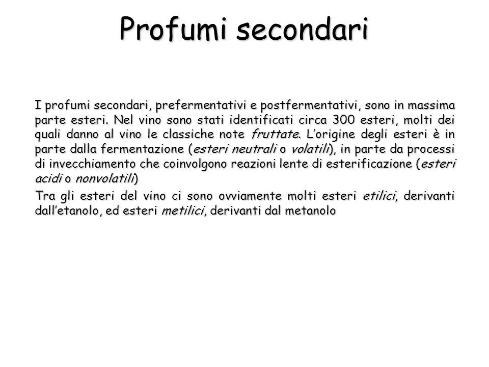 I profumi secondari, prefermentativi e postfermentativi, sono in massima parte esteri. Nel vino sono stati identificati circa 300 esteri, molti dei qu