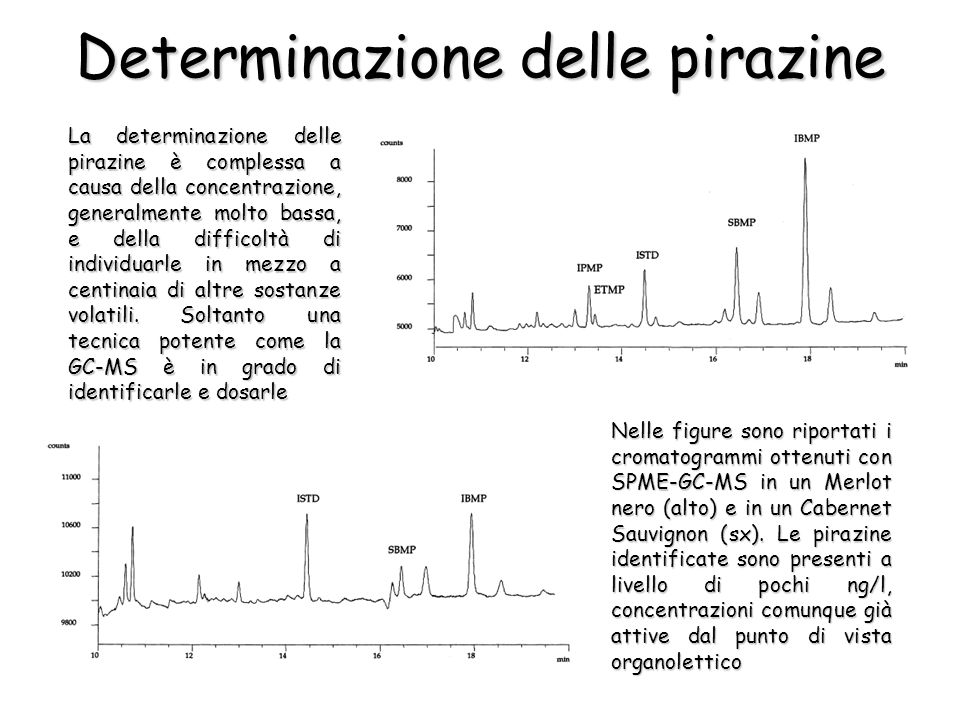 La determinazione delle pirazine è complessa a causa della concentrazione, generalmente molto bassa, e della difficoltà di individuarle in mezzo a cen