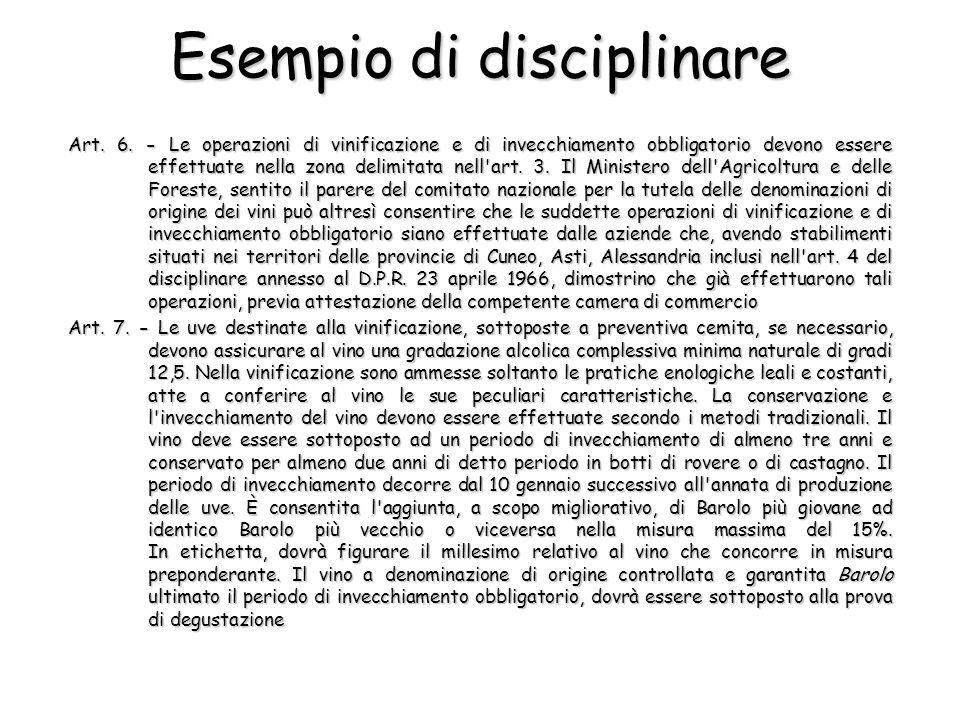 Esempio di disciplinare Art. 6. - Le operazioni di vinificazione e di invecchiamento obbligatorio devono essere effettuate nella zona delimitata nell'