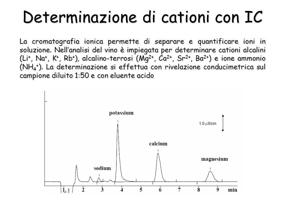La cromatografia ionica permette di separare e quantificare ioni in soluzione. Nellanalisi del vino è impiegata per determinare cationi alcalini (Li +