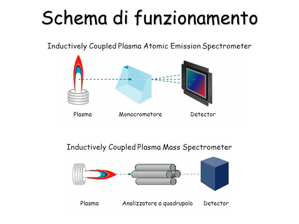 Schema di funzionamento Plasma Monocromatore Detector Inductively Coupled Plasma Atomic Emission Spectrometer Plasma Analizzatore a quadrupolo Detecto
