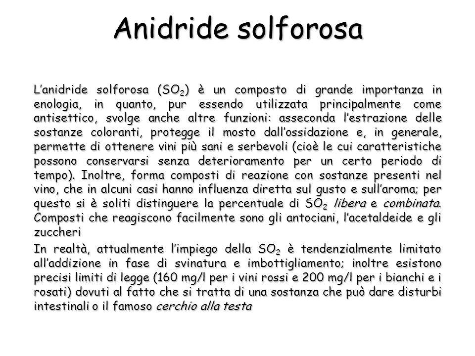 Anidride solforosa Lanidride solforosa (SO 2 ) è un composto di grande importanza in enologia, in quanto, pur essendo utilizzata principalmente come a