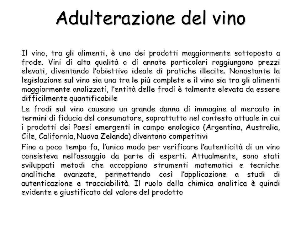 Adulterazione del vino Il vino, tra gli alimenti, è uno dei prodotti maggiormente sottoposto a frode. Vini di alta qualità o di annate particolari rag