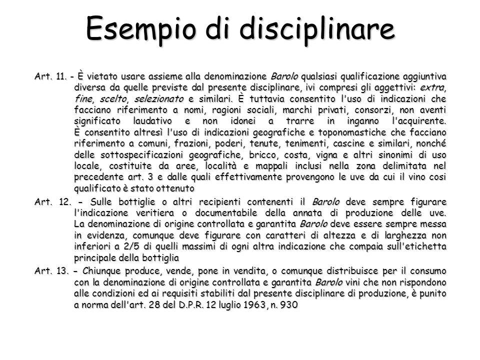 Art. 11. - È vietato usare assieme alla denominazione Barolo qualsiasi qualificazione aggiuntiva diversa da quelle previste dal presente disciplinare,