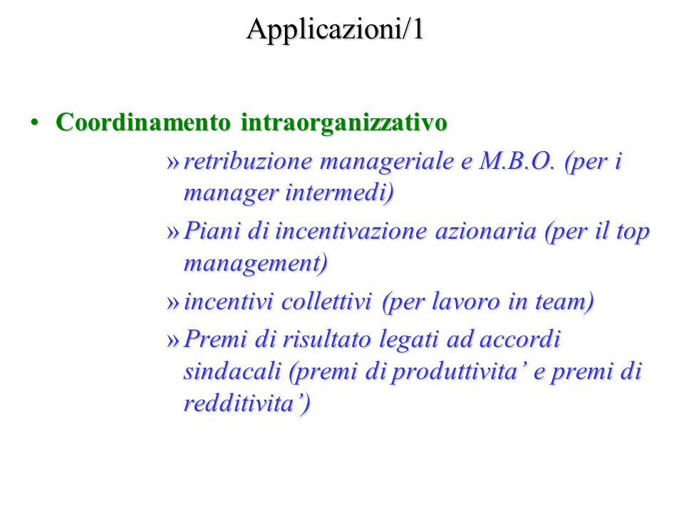 Applicazioni/1 Coordinamento intraorganizzativoCoordinamento intraorganizzativo »retribuzione manageriale e M.B.O. (per i manager intermedi) »Piani di