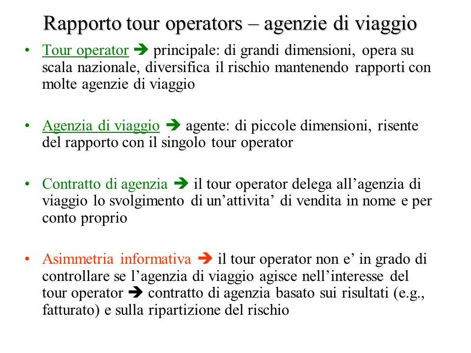 Rapporto tour operators – agenzie di viaggio Tour operator principale: di grandi dimensioni, opera su scala nazionale, diversifica il rischio mantenen