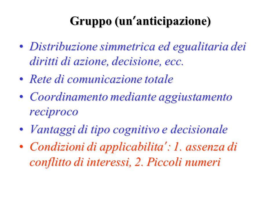 Gruppo (un anticipazione) Distribuzione simmetrica ed egualitaria dei diritti di azione, decisione, ecc.Distribuzione simmetrica ed egualitaria dei di