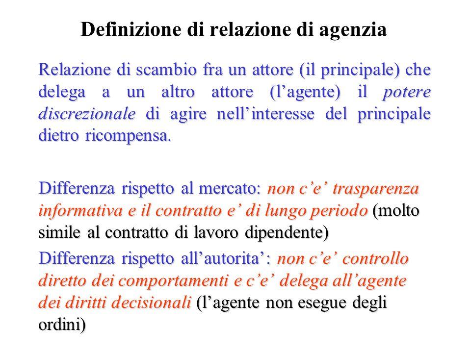 Definizione di relazione di agenzia Relazione di scambio fra un attore (il principale) che delega a un altro attore (lagente) il potere discrezionale