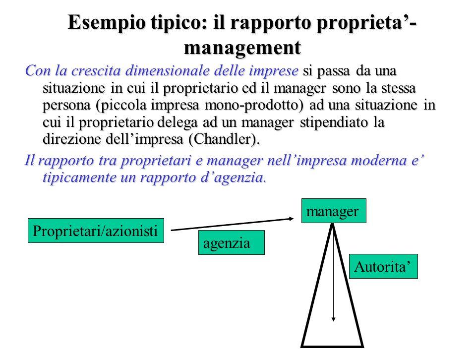 Esempio tipico: il rapporto proprieta- management Con la crescita dimensionale delle imprese si passa da una situazione in cui il proprietario ed il m