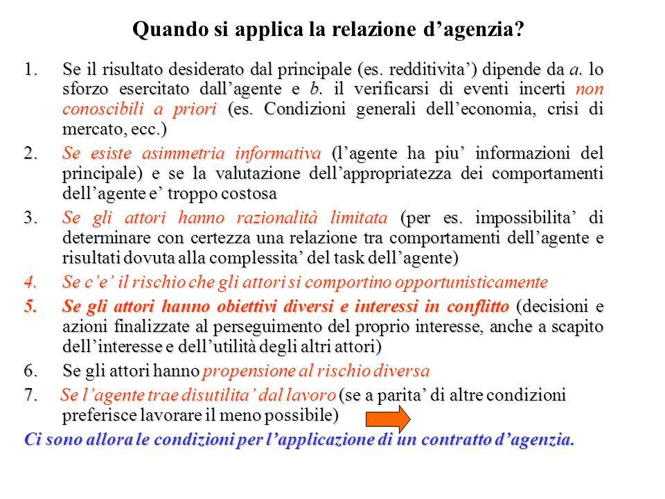 1.Se il risultato desiderato dal principale (es. redditivita) dipende da a. lo sforzo esercitato dallagente e b. il verificarsi di eventi incerti non