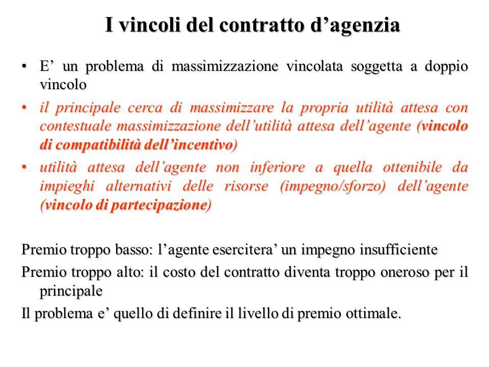 I vincoli del contratto dagenzia E un problema di massimizzazione vincolata soggetta a doppio vincoloE un problema di massimizzazione vincolata sogget