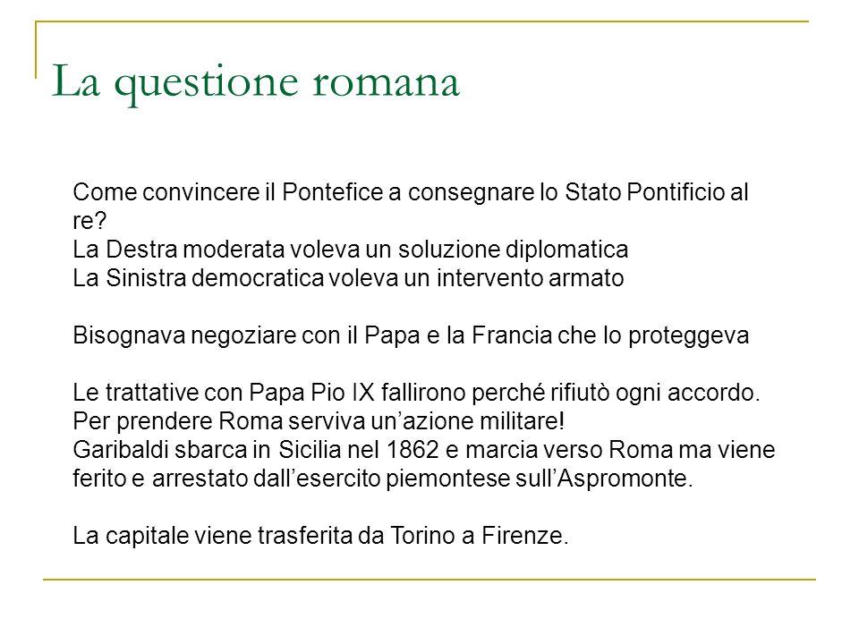 La questione romana Come convincere il Pontefice a consegnare lo Stato Pontificio al re? La Destra moderata voleva un soluzione diplomatica La Sinistr