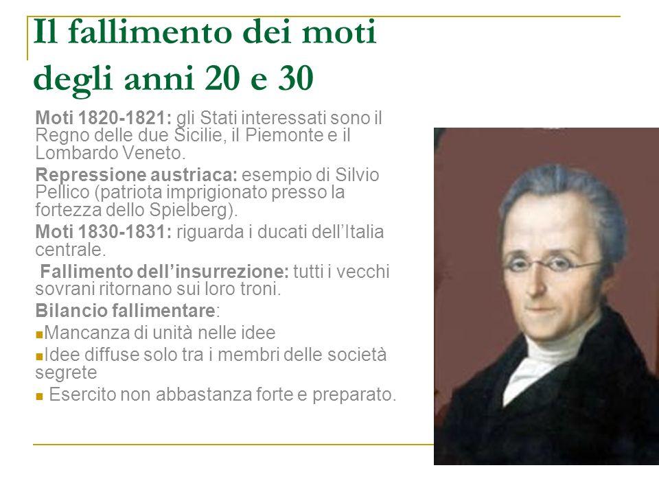 Il fallimento dei moti degli anni 20 e 30 Moti 1820-1821: gli Stati interessati sono il Regno delle due Sicilie, il Piemonte e il Lombardo Veneto. Rep