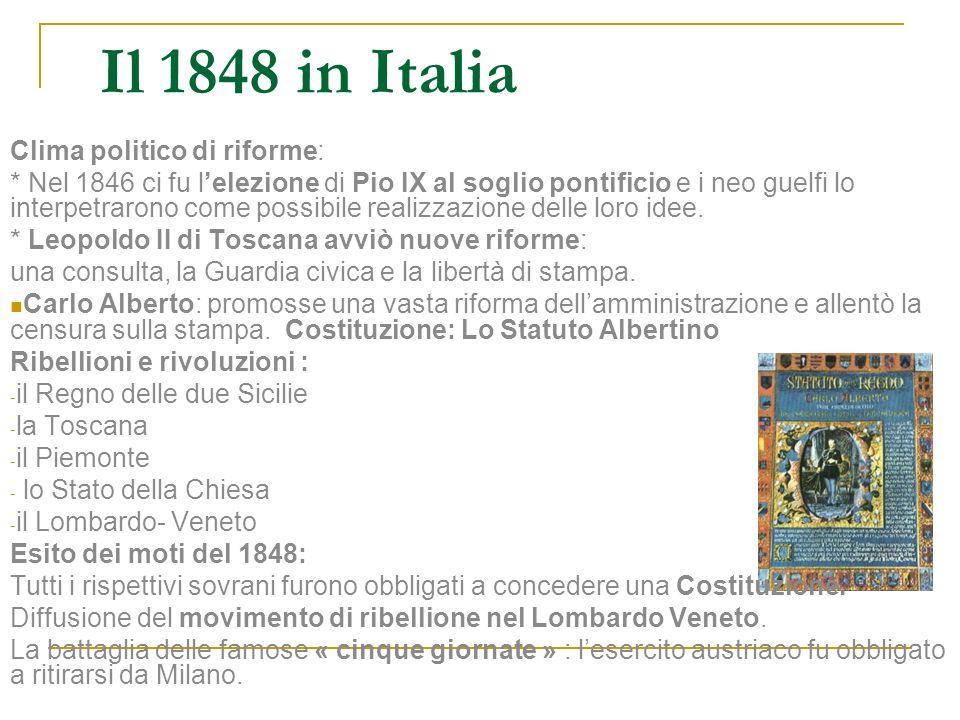 Il 1848 in Italia Clima politico di riforme: * Nel 1846 ci fu lelezione di Pio IX al soglio pontificio e i neo guelfi lo interpetrarono come possibile
