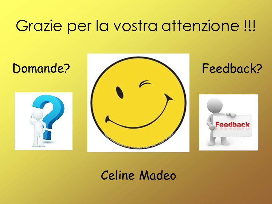 Grazie per la vostra attenzione !!! Domande? Feedback? Celine Madeo