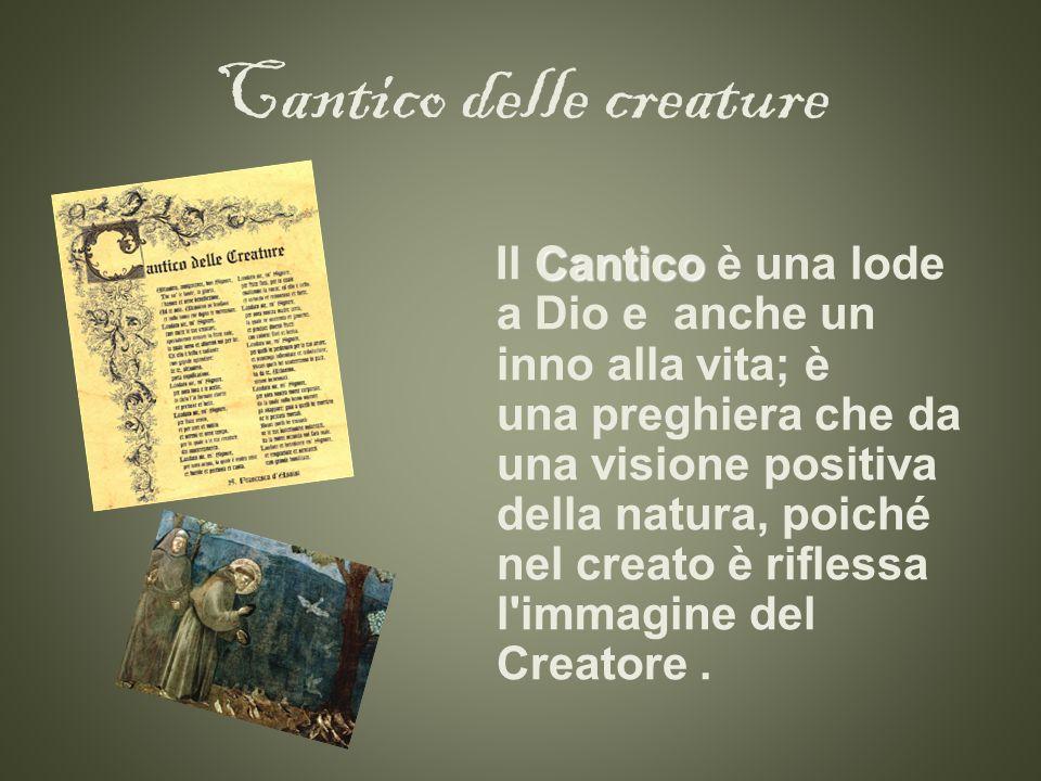 Cantico delle creature Cantico Il Cantico è una lode a Dio e anche un inno alla vita; è una preghiera che da una visione positiva della natura, poiché nel creato è riflessa l immagine del Creatore.