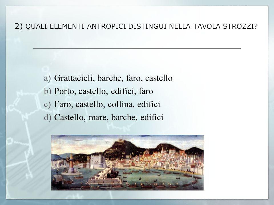 2) QUALI ELEMENTI ANTROPICI DISTINGUI NELLA TAVOLA STROZZI? a)Grattacieli, barche, faro, castello b)Porto, castello, edifici, faro c)Faro, castello, c